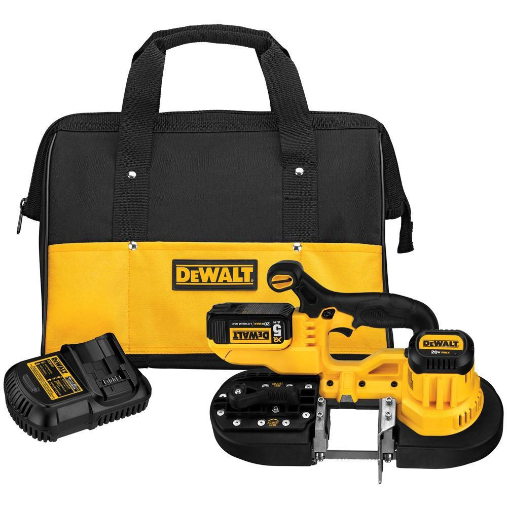 DEWALT 20V MAX Li-Ion Band Saw (5.0Ah) with One Battery and Bag