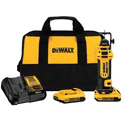 DEWALT 20V MAX Li-Ion Cordless Drywall Cut-Out Tool Kit with (2) Batteries 2Ah, Charger and Contractor Bag