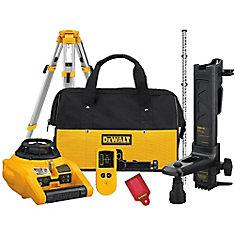 DW074KDT Rotary Laser Kit with Laser Detector and Tripod