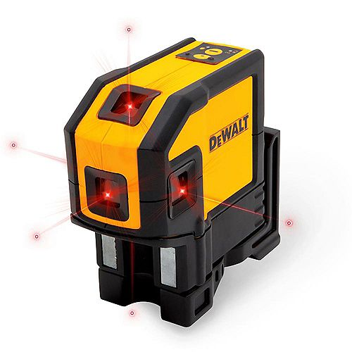 DEWALT 165 ft. Red Self-Leveling 5-Spot & Horizontal Line Laser Level with (3) AA Batteries & Case