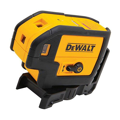 DEWALT 100 ft. Red Self-Leveling 5-Spot Laser Level with (4) AA Batteries & Case