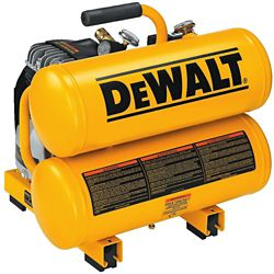 DEWALT 2 HP Elec, 4 gal, Hand Carry, Twin tanks, 14 Amps