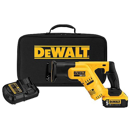DEWALT 20V MAX Li-Ion Cordless Compact Reciprocating Saw Kit with Battery 5Ah, Charger and Contractor Bag