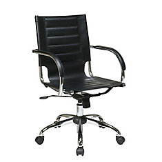 Black Trinidad Office Chair with Padded Arms and Chrome Accents