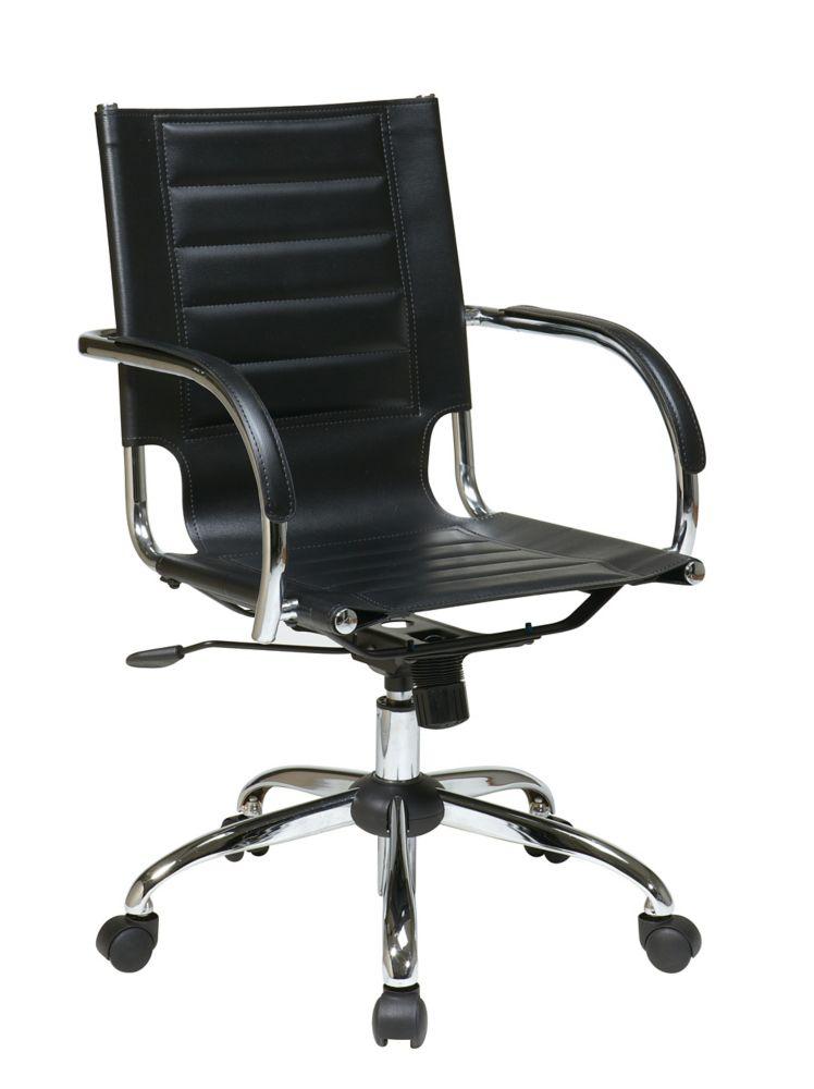 Chaise Trinidad noire avec sous bras rembourré et accent chromé