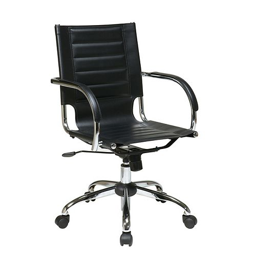 Avenue Six Black Trinidad Office Chair with Padded Arms and Chrome Accents