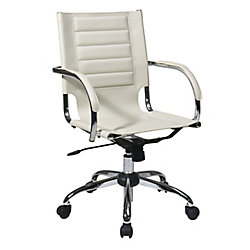 Avenue Six Cream Trinidad Office Chair with Padded Arms and Chrome Accents