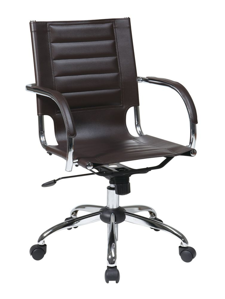 Espresso Trinidad Office Chair with Padded Arms and Chrome Accents