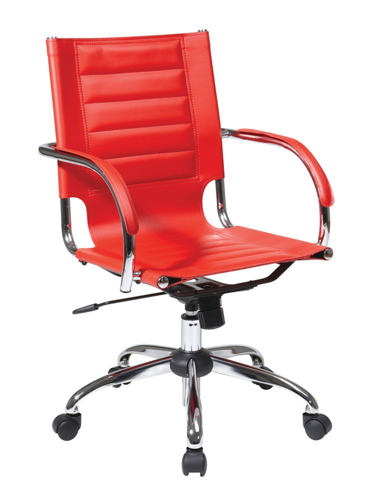 Red Trinidad Office Chair with Padded Arms and Chrome Accents