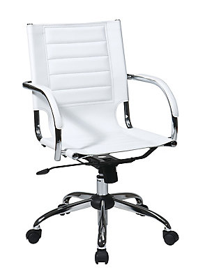 Avenue Six White Trinidad Office Chair With Padded Arms And Chrome Accents The Home Depot Canada