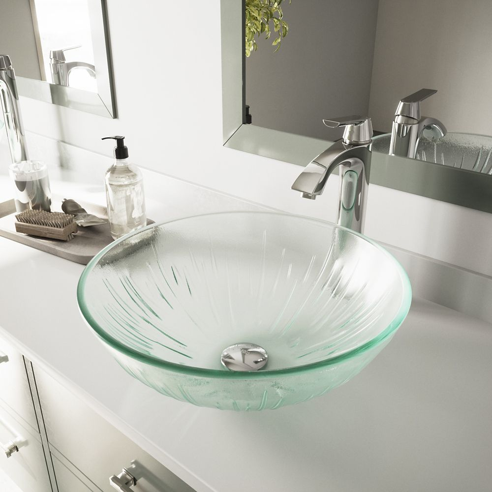 Vigo Glass Vessel Sink in Icicles with Faucet in Chrome