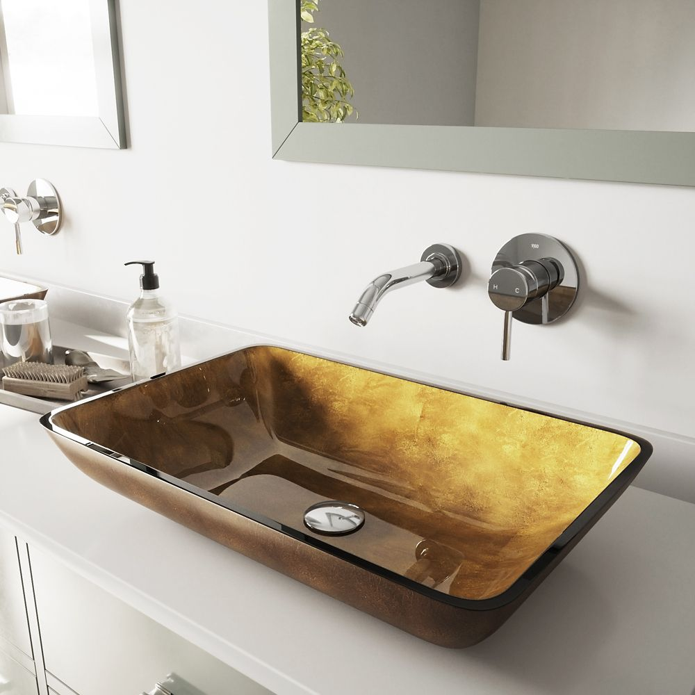 Vigo Chrome Rectangular Copper Glass Vessel Sink and Wall Mount Faucet ...