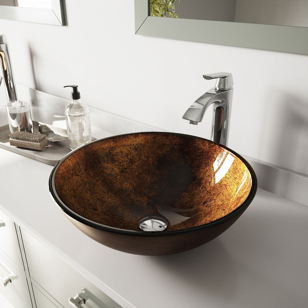 Chrome Russet Glass Vessel Sink and Faucet Set VGT110 in Canada