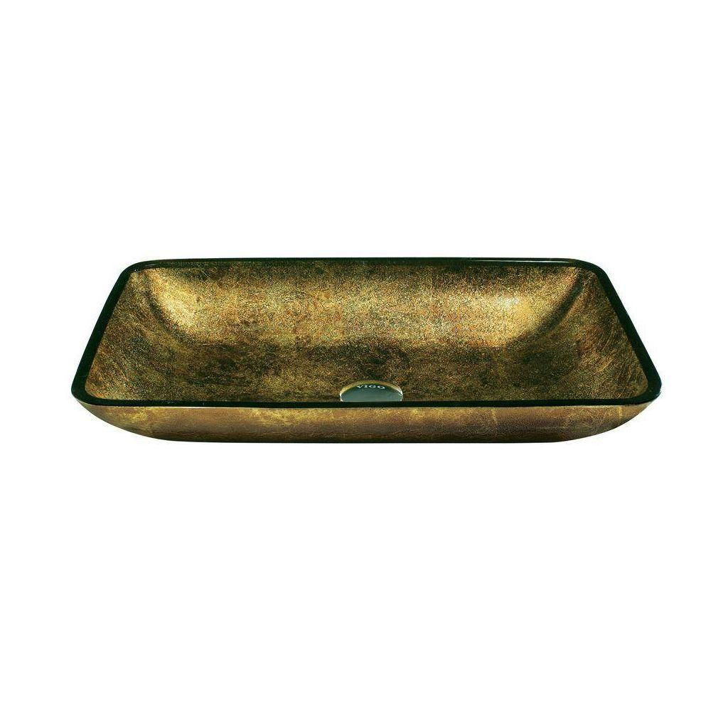Glass Vessel Sink in Rectangular Copper with Wall-Mount Faucet in Chrome