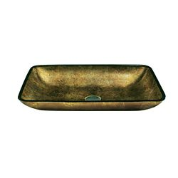Vigo Glass Vessel Sink in Rectangular Copper with Wall-Mount Faucet in Chrome