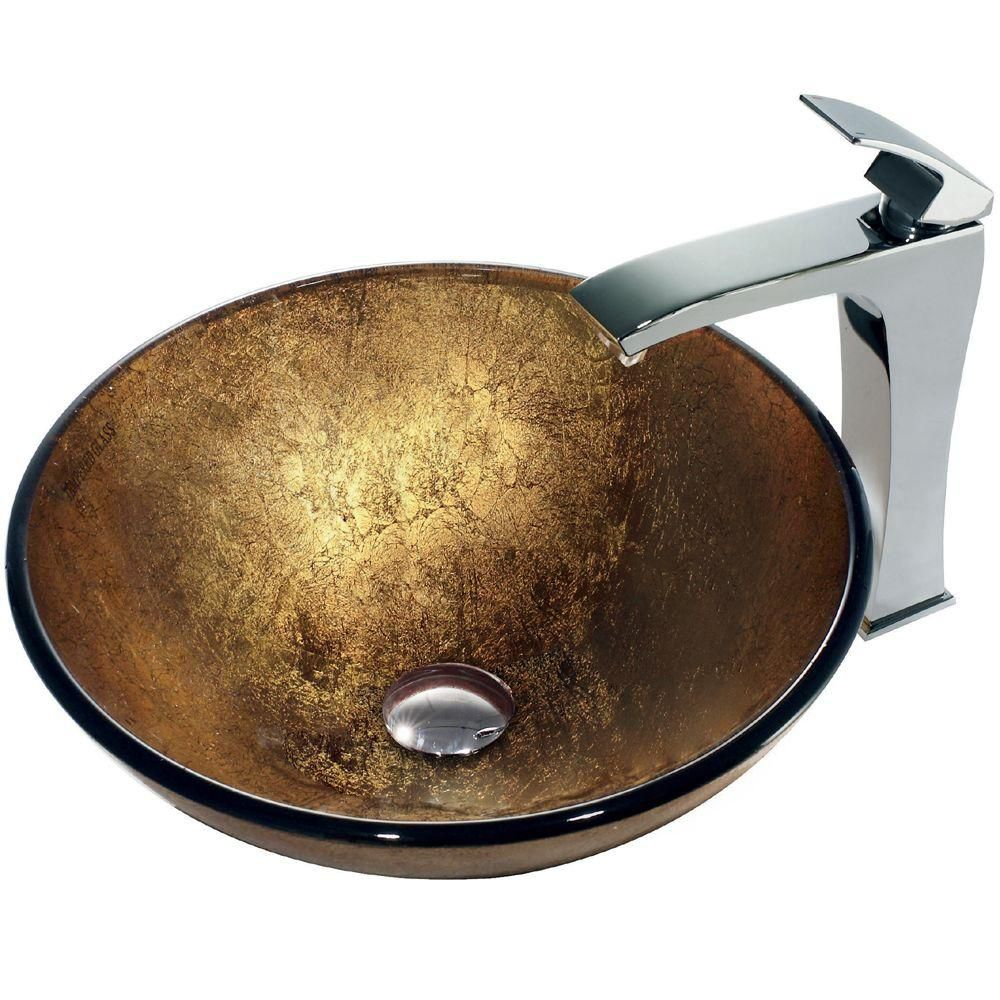Glass Vessel Sink in Liquid Gold with Faucet in Chrome