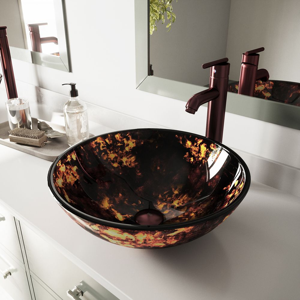 Glass Vessel Sink in Brown and Gold Fusion with Faucet in Oil-Rubbed Bronze