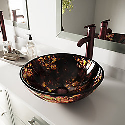 VIGO Glass Vessel Bathroom Sink in Brown and Gold Fusion with Faucet Set in Oil Rubbed Bronze