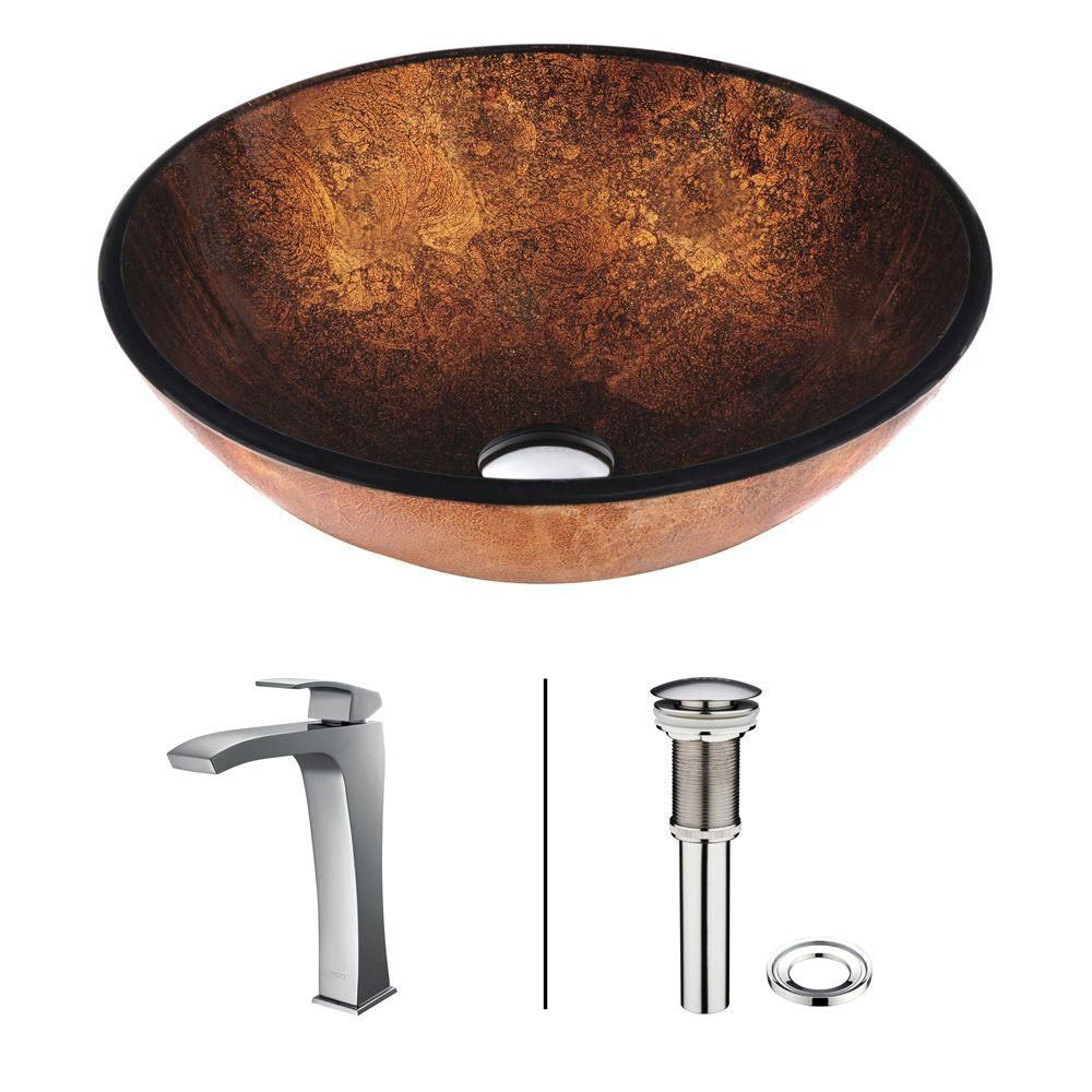 Vigo Glass Vessel Sink in Russet with Faucet in Chrome
