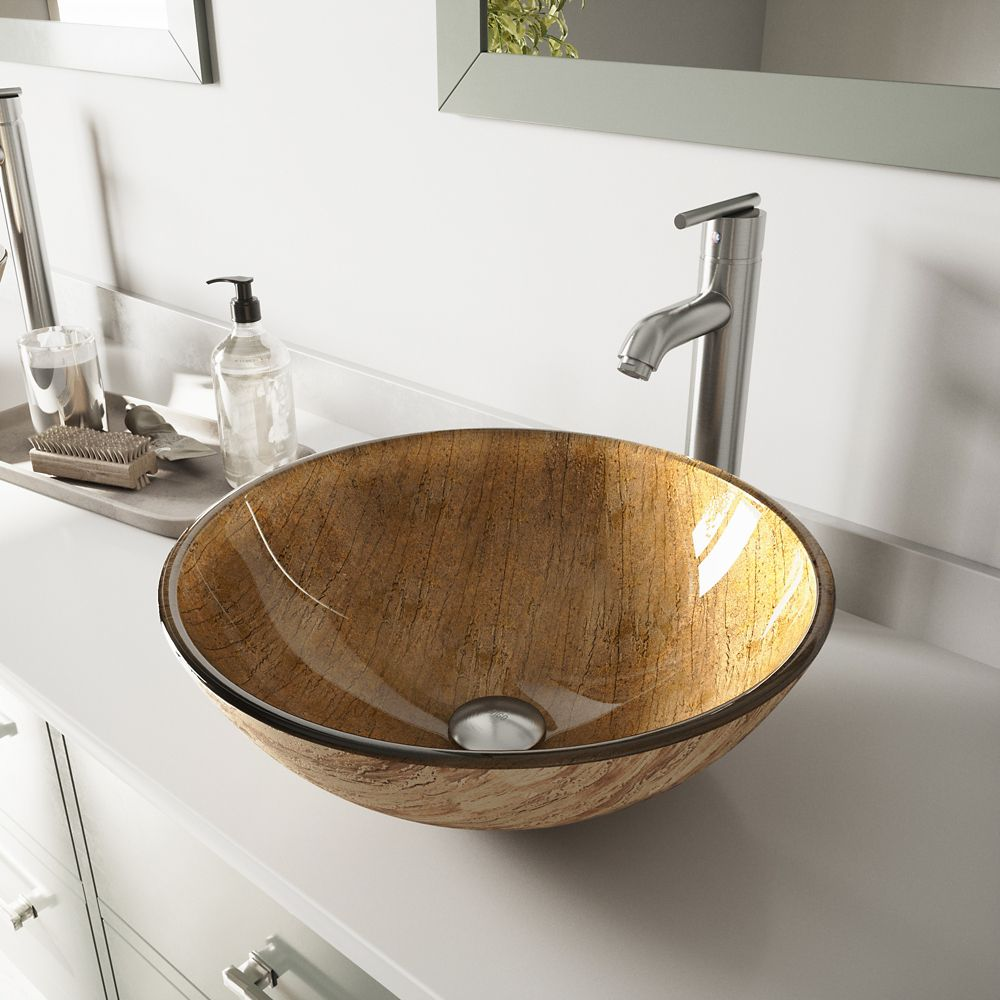 Glass Vessel Sink in Amber Sunset with Faucet in Brushed Nickel