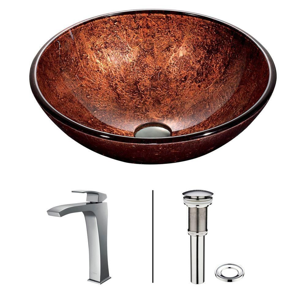 Glass Vessel Sink in Mahogany Moon with Chrome Faucet in Chrome