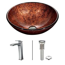 VIGO Glass Vessel Sink in Mahogany Moon with Chrome Faucet in Chrome
