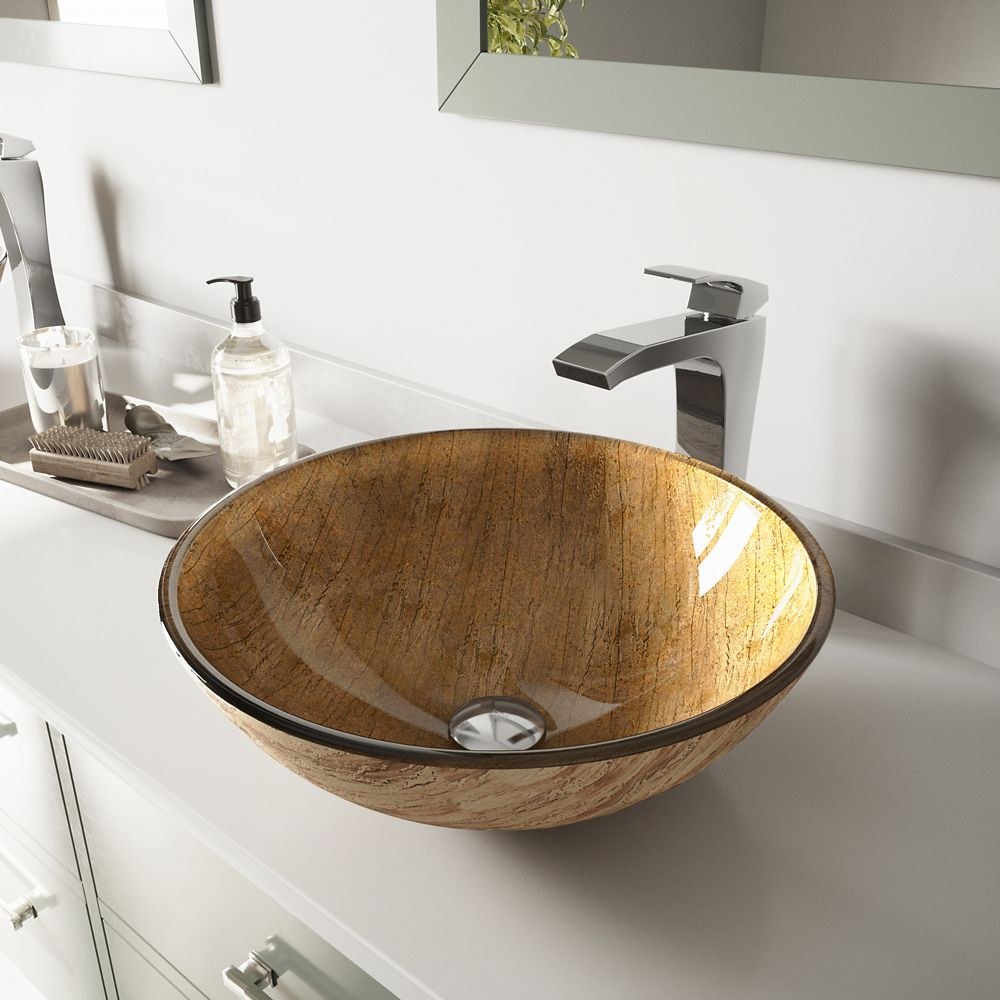 Glass Vessel Sink in Amber Sunset with Faucet in Chrome