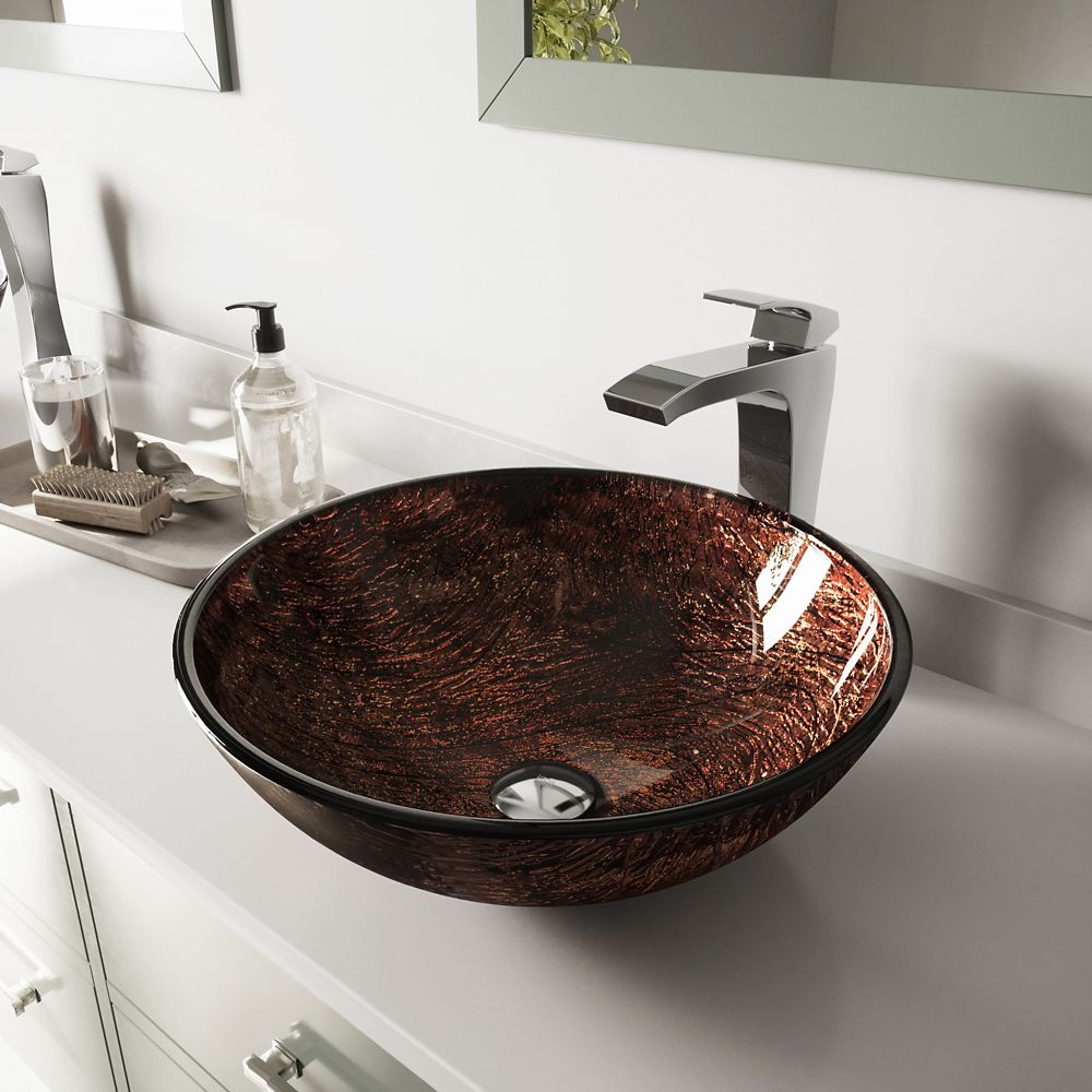 Glass Vessel Sink in Kenyan Twilight with Faucet in Chrome