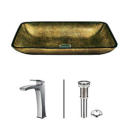 VIGO Glass Vessel Sink in Rectangular Copper with Faucet in Chrome