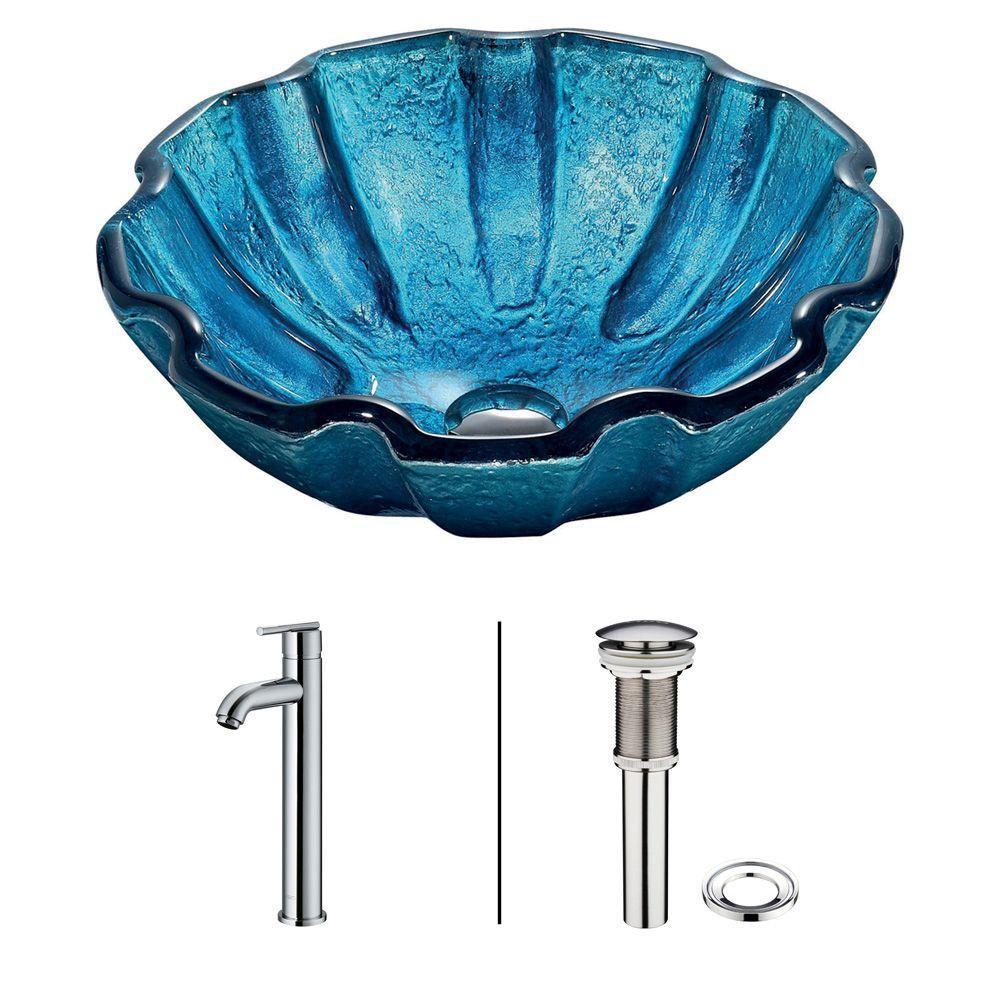 Ensemble Mediterranean Seashell  Lavabo en verre et robinet en chrome