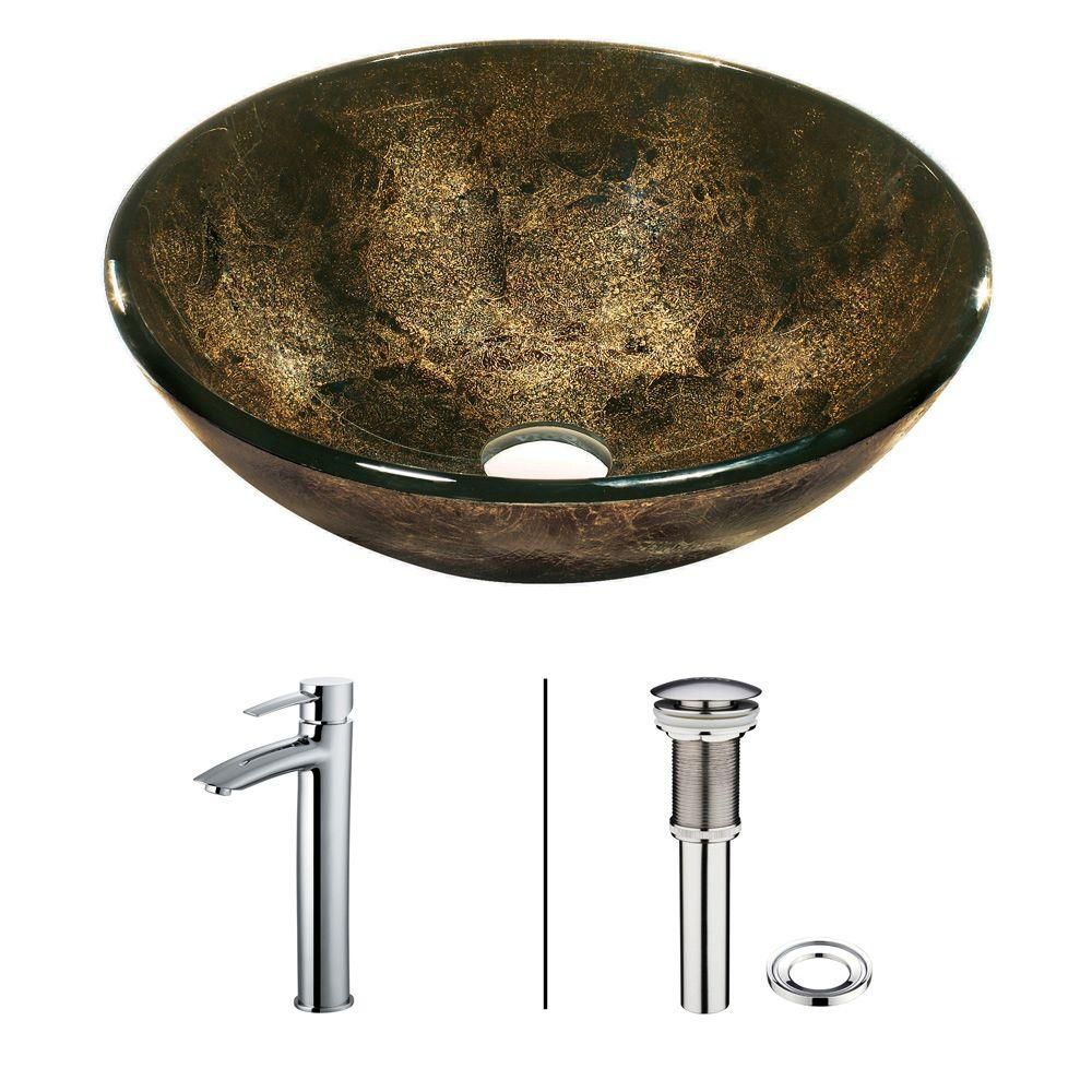 Glass Vessel Sink in Sintra with Faucet in Chrome