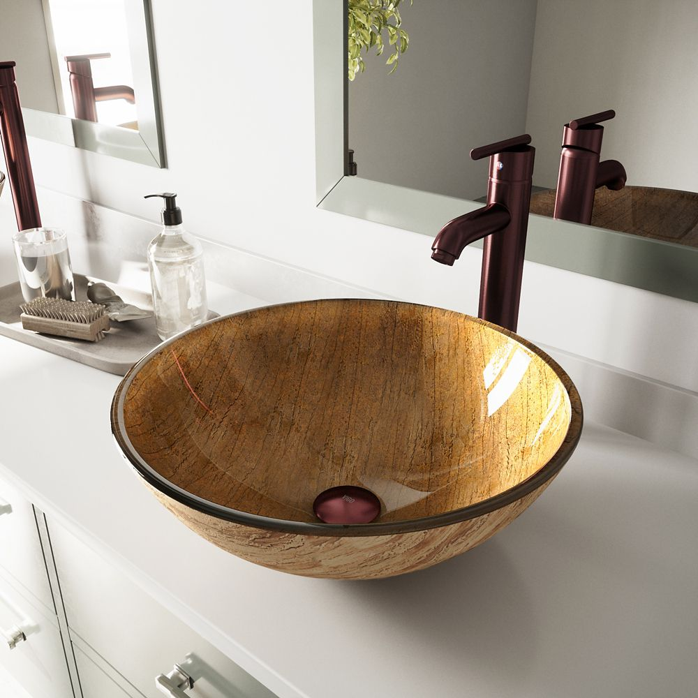 Glass Vessel Sink in Amber Sunset with Faucet in Oil-Rubbed Bronze