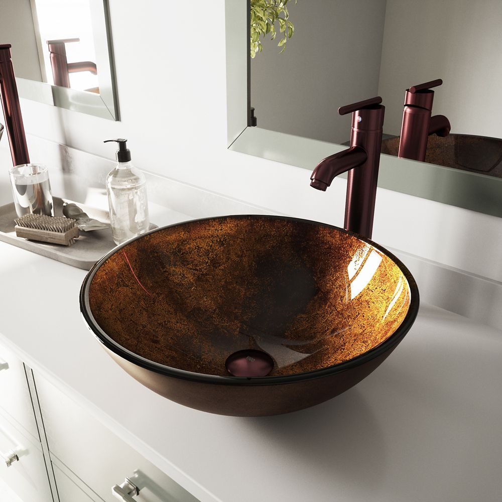 Vigo Glass Vessel Sink in Russet with Faucet in Oil-Rubbed Bronze