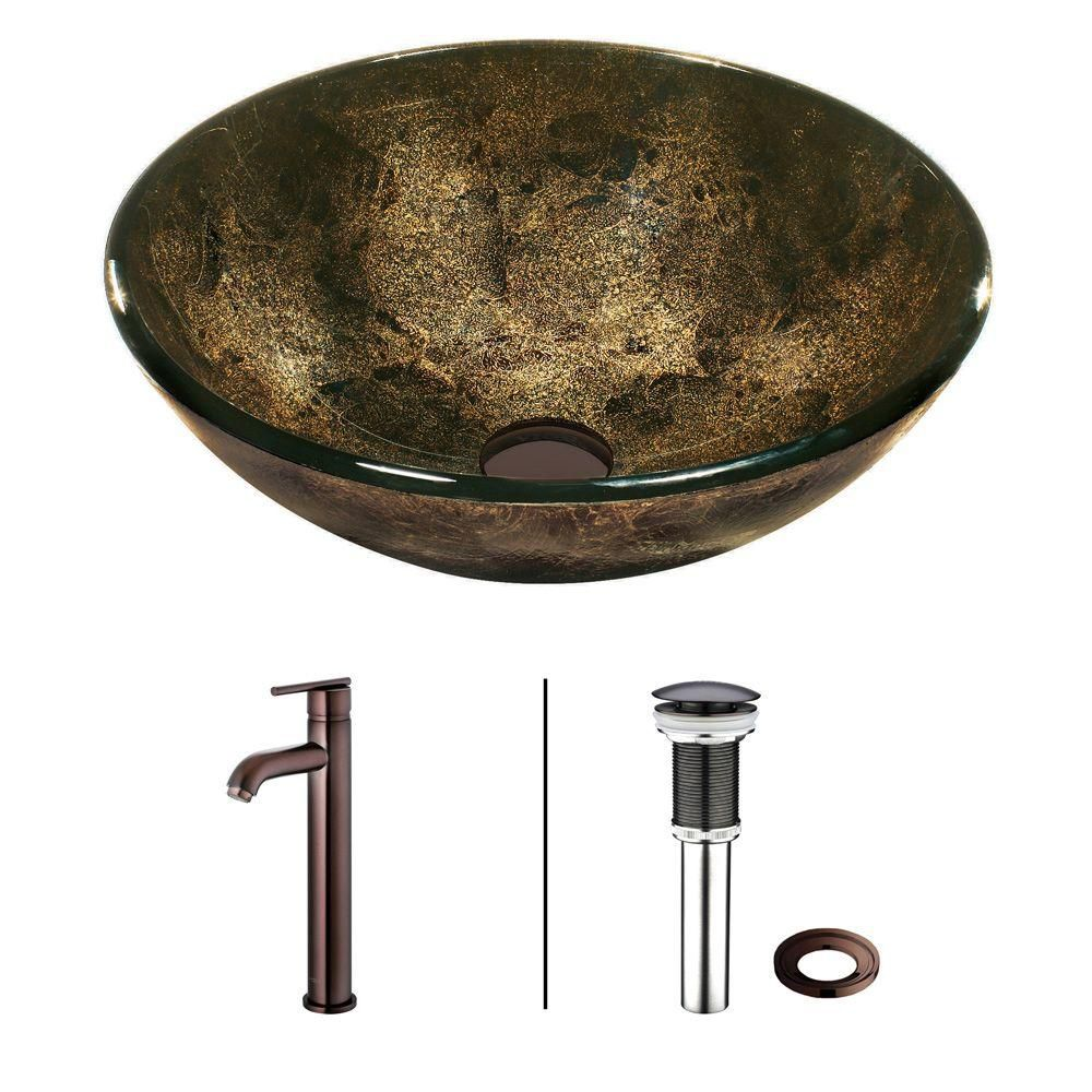 Glass Vessel Sink in Sintra with Faucet in Oil-Rubbed Bronze