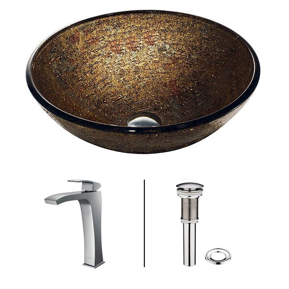 Glass Vessel Sink in Textured Copper with Faucet in Chrome