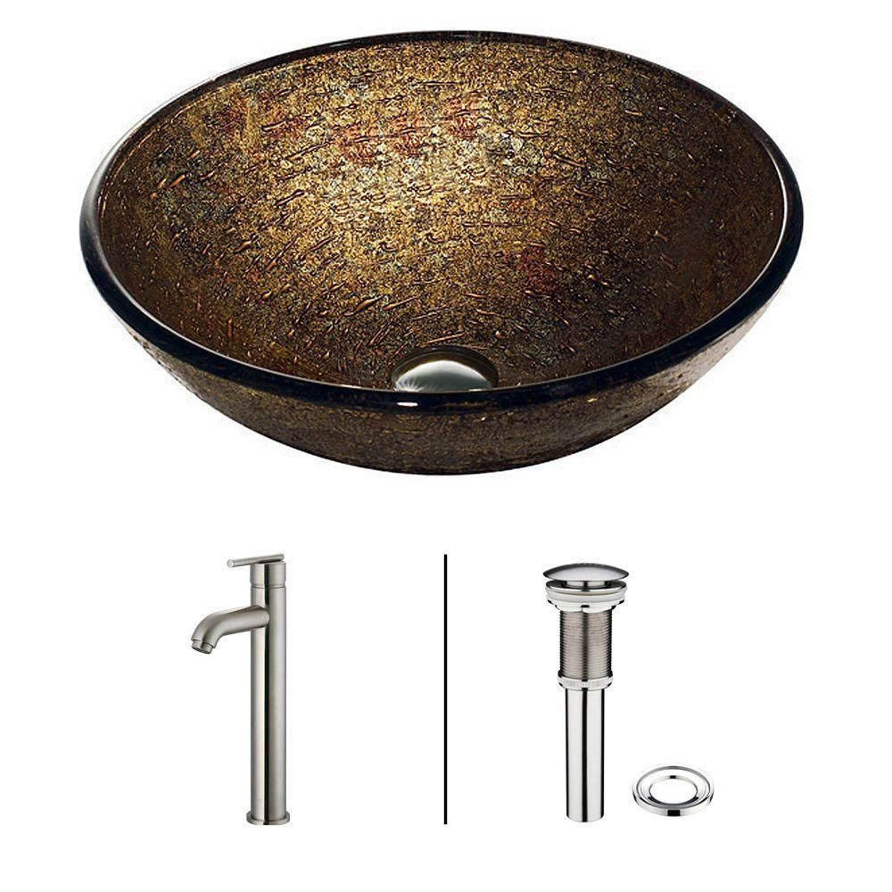 Glass Vessel Sink in Textured Copper with Faucet in Brushed Nickel