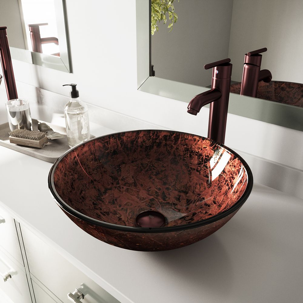 Glass Vessel Sink in Mahogany Moon with Faucet in Oil-Rubbed Bronze