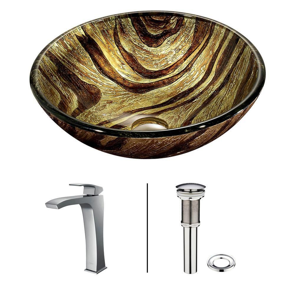 Vigo Glass Vessel Sink in Zebra with Faucet in Chrome