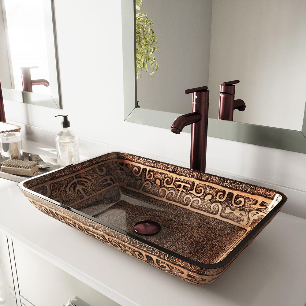 Vigo Glass Vessel Sink in Rectangular Golden Greek with Faucet in Oil-Rubbed Bronze