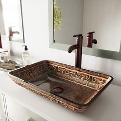 VIGO Rectangular Glass Vessel Bathroom Sink in Golden Greek with Faucet Set in Oil Rubbed Bronze
