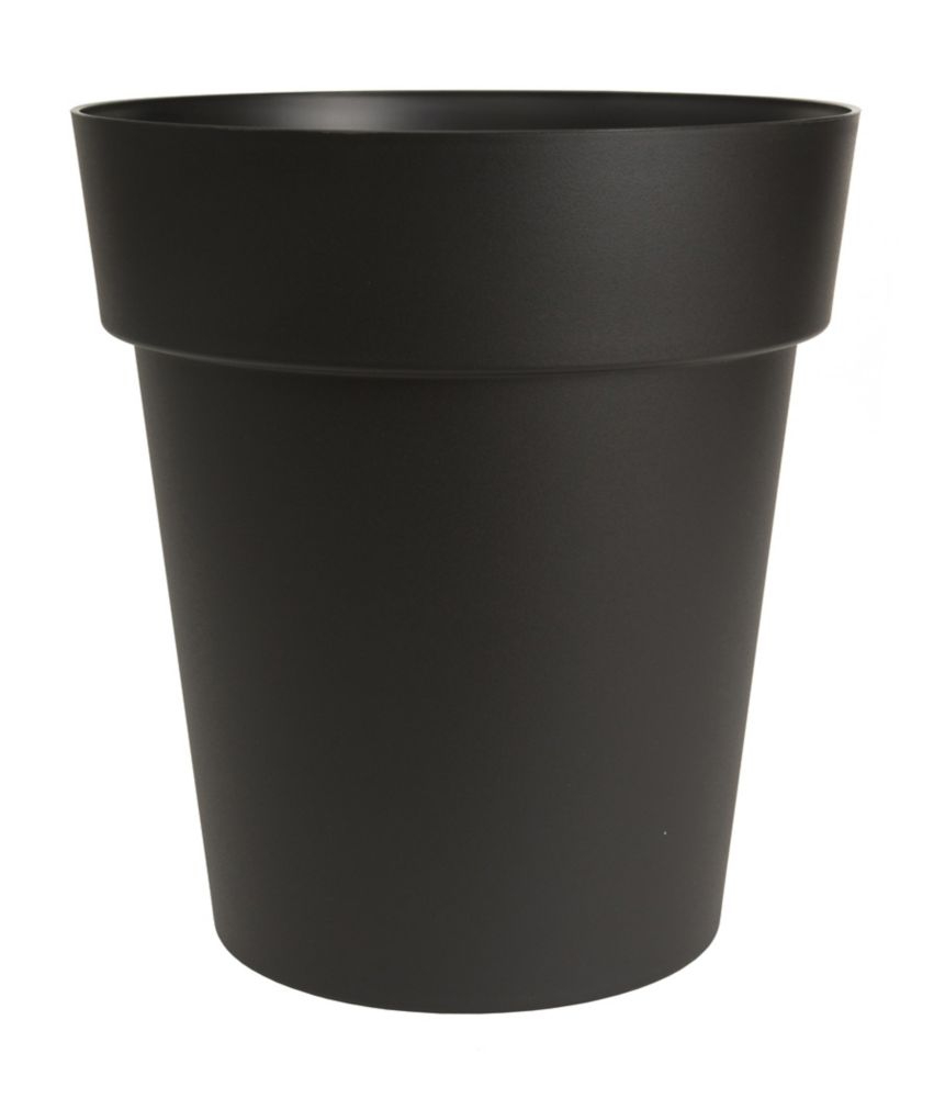 DCN VIVA 17 inch (43 cm) Self-Watering Planter Black, mat finish, with large water reservoir