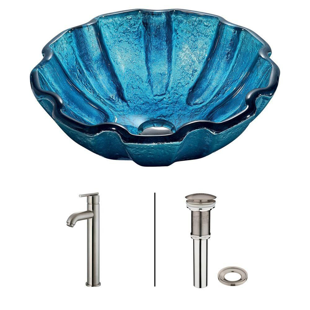 Glass Vessel Sink in Mediterranean Seashell with Faucet in Brushed Nickel