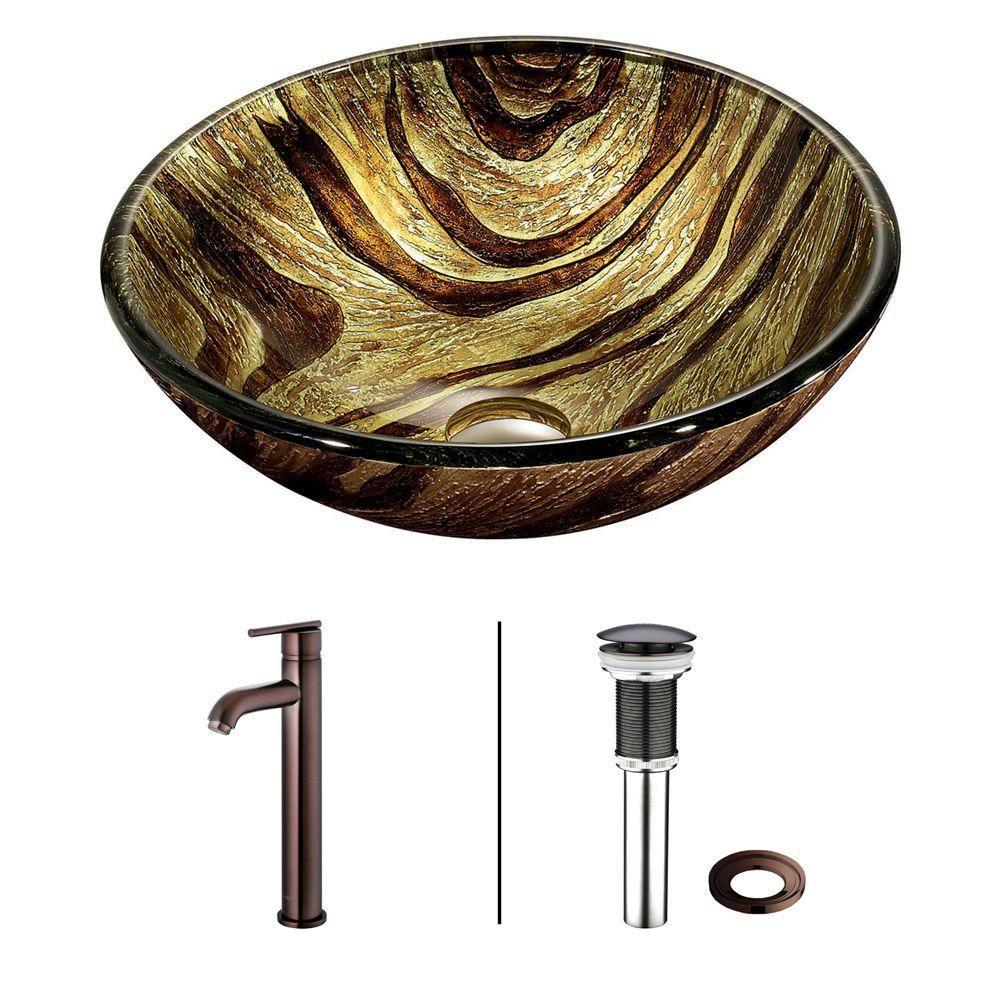 Ensemble Zebra Lavabo en verre et robinet en bronze huilé