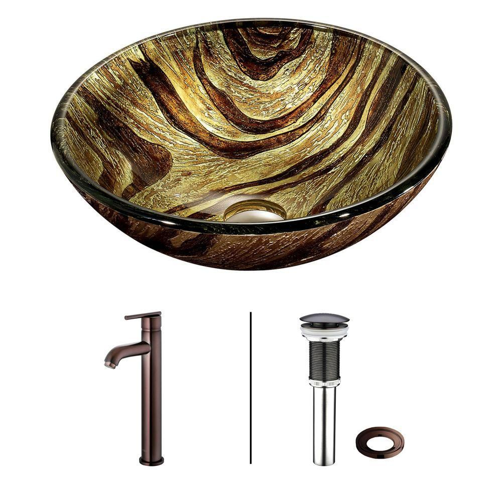 Glass Vessel Sink in Zebra with Faucet in Oil-Rubbed Bronze