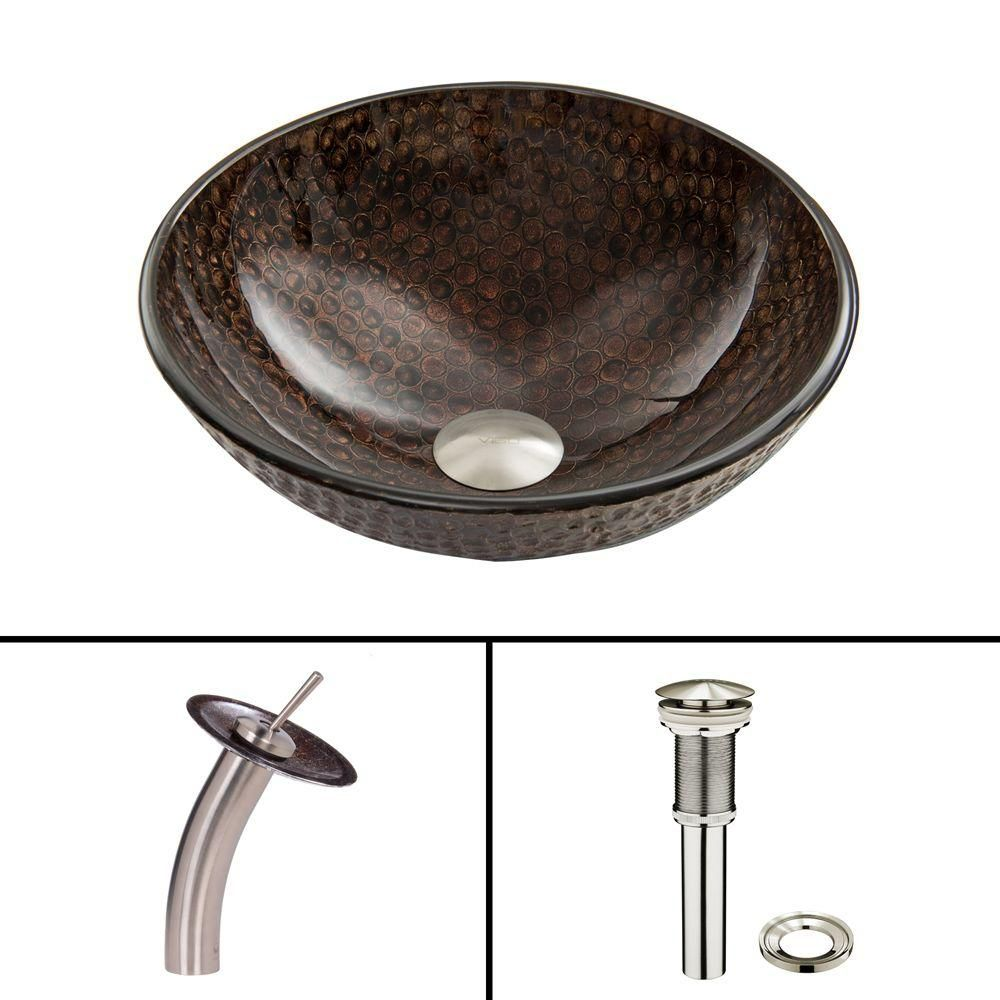 Glass Vessel Sink in Copper Shield with Waterfall Faucet in Brushed Nickel