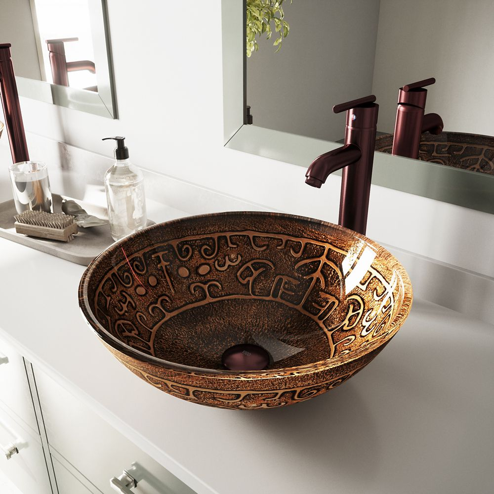 Glass Vessel Sink in Golden Greek with Faucet in Oil-Rubbed Bronze