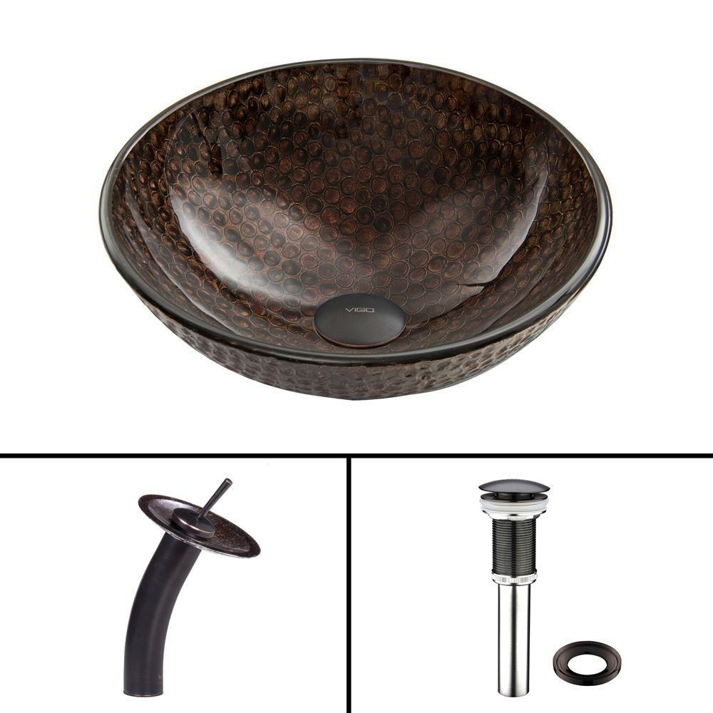 Glass Vessel Sink in Copper Shield with Waterfall Faucet in Antique Rubbed Bronze