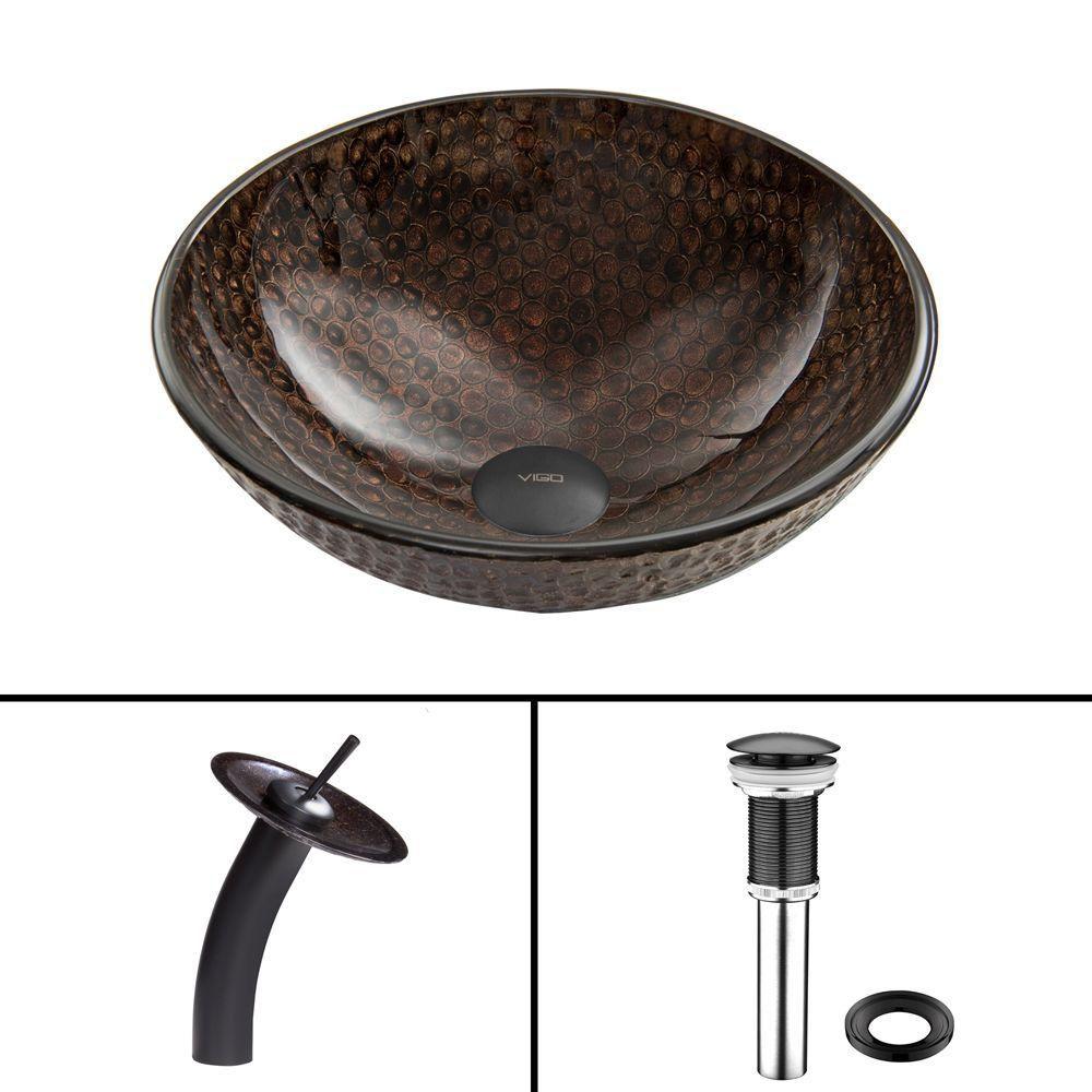 Glass Vessel Sink in Copper Shield with Waterfall Faucet in Matte Black