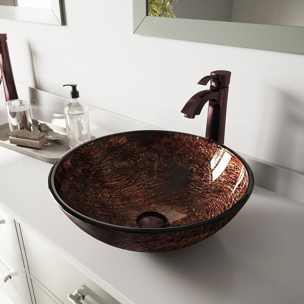 Glass Vessel Sink in Kenyan Twilight with Faucet in Oil-Rubbed Bronze