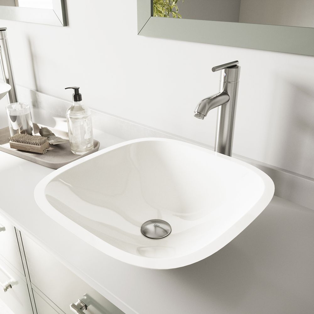 Square Stone Vessel Sink in White Phoenix with Seville Faucet in Brushed Nickel